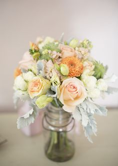 peach dahlia and cream spray roses bridal bouquet | photos by Mustard Seed Organic Photography | 100 Layer Cake