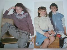 Second Silver - 456 Off to School knitting patterns beehive Astra Child pullover