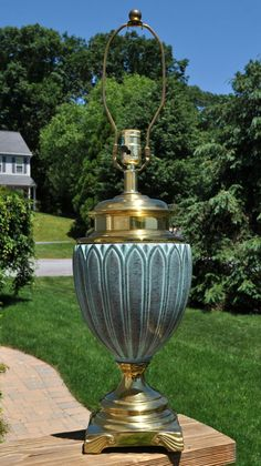 Lovely Hollywood Regency Green Ceramic Metal Table Lamp Petal Design Urn Shaped