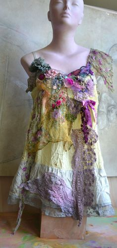 Unique Art to Wear Pale Lemon/Gray Tinic PURPLE AND by Paulina722, $330.00