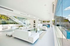 Modern White Interior Design In Outstanding Mallorcan Villa Marble Interior, White Interior Design, Interior Styling, Interior And Exterior, Interior Modern, Modern Sofa, Modern Living, Modern Decor, Estilo Interior