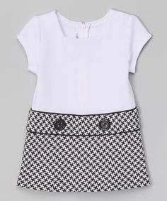 Gerson & Gerson Black Houndstooth Bow Peacoat & Dress - Toddler & Girls | zulily