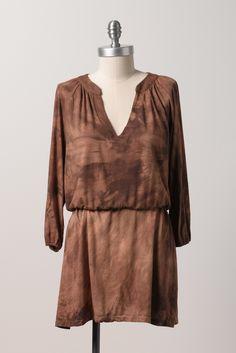 Suede bamboo long sleeve tunic
