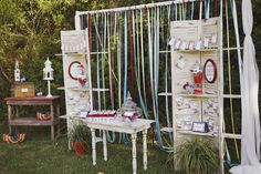 Again, Love the ribbons, this could be such a neat way to set up a booth or display....