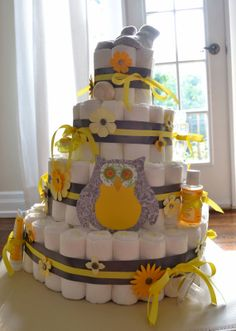 Owl Diaper Cake  Gray and Yellow by babybumpcakes on Etsy, $175.00