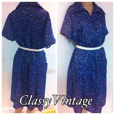 Vintage 60's /70's daydress. Vintage daydress with short sleeves and zippered front. Two front pockets. This does not come with belt. Bust  46 waist - waist 44 - hips 50 and length 41 inches.  This would best fit XL to  XXL Bridge Gate Dresses