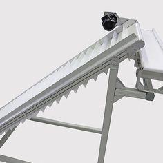 Incline conveyor with perpendicular discharge Diy Fountain, Stollen, Conveyor Belt, Sandbox, Cleats, English, Candy, Motocross Helmets, Log Projects