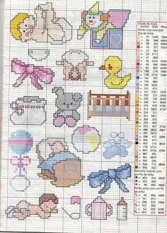Graficos punto de cruz baberos infantiles - Imagui