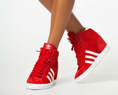 Sporty Outfits – Adidas Basket Profi Up W Women's Shoes, Cute Shoes, Me Too Shoes, Shoe Boots, Red Adidas Shoes, Adidas Outfit, Ankle Sneakers, Wedge Sneakers, Sneaker Wedges