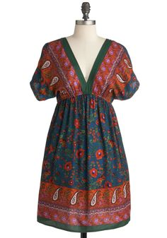 To Market Dress - Mid-length, Multi, Floral, Paisley, Casual, Empire, Short Sleeves, Fall, Multi, Boho