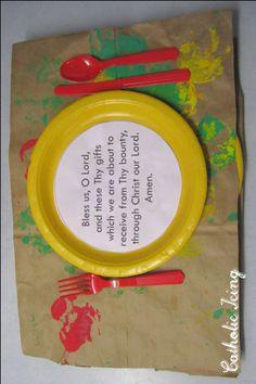 dinner prayer craft for kids- apple print placemats