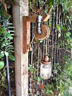 Vintage look pulley mason jar light. Steampunk - industrial antique lamp - pendant lamp.