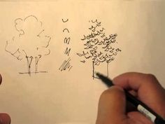 Ink Drawing Mike Lin: How to draw trees with a pen (gotta love listening to Mike Lin) - Drawing Tutorials, Drawing Techniques, Art Tutorials, Painting Tutorials, Landscape Sketch, Landscape Drawings, Tree Sketches, Drawing Sketches, Urban Sketching