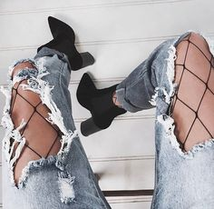 All in the details ★ Layer the Large Fishnet Stockings under the Brooks Boyfriend Jeans & wear with the Velvet Suddley Boots ★ Instashop now!