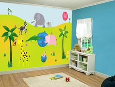Kids wall decal, office wall decal, kids wall stickers, baby wall decals, nursery decal, art kids, Nursery decor HUGE JUNGLE DECAL. $149.00, via Etsy.