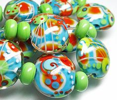 Katie Mankau Lampwork Glass Bead Lentil Set