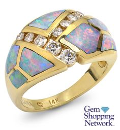 0.43 ctw Diamond Round & Inlay Opal 14K Yellow Gold Ring -- Do Not Size!! Size 6 Item #301-20317  Tune into Gem Shopping Network to see stunning gemstones and jewelry 24/7. Magnificent emerald rings, blue tanzanite earrings, platinum diamond bracelets, or estate sapphire necklace are just a click away! Visit our website to day and discover your jewelry destination.