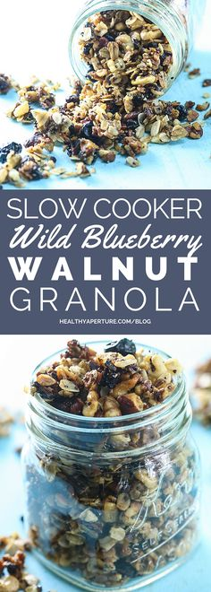 Did you know you could make granola in a slow cooker? Learn how with this Wild Blueberry Walnut Granola recipe. (Baking Bread In Crockpot) Healthy Slow Cooker, Slow Cooker Recipes, Crockpot Recipes, Crockpot Granola Recipe, Real Food Recipes, Snack Recipes, Dessert Recipes, Diet Recipes, Desserts