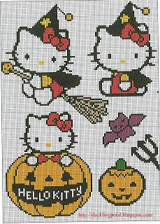 Free Halloween Hello Kitty Cross Stitch Chart