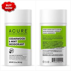 Deodorant, Acure Organics, Cypress Oil, Cedarwood Oil, Sodium Bicarbonate, Mineral Oil, Shea Butter, Mint, How To Apply