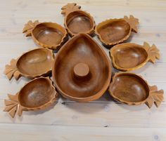 Mid Centry Monkey Pod Pineapple Salad Bowls Carved Wood