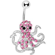 Pink Gem Encrusted Floating Octopus Belly Button Ring
