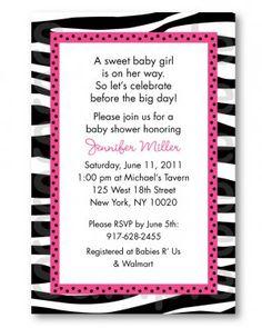 Pink and zebra baby shower invitation