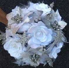 DRAMATIC Winter Wonderland Feathers Flowers Bridal Bouquet White/Silver Snowflake BLING WEDDING