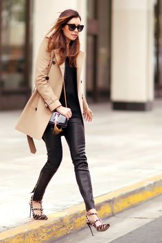 camel and black outfit.  leopard valentino rockstuds, Saint Laurent bag, Burberry trench, J Brand leather pants