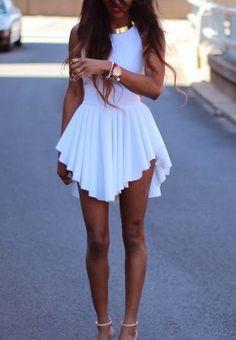 Sexy O Neck Tank Asymmetrical White Spandex Mini Dress<---I love the asymmetrical look! Cute Dresses, Beautiful Dresses, Short Dresses, Cute Outfits, Summer Dresses, Sexy Dresses, Dresses 2014, Gorgeous Dress, Cheap Dresses