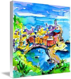 Vernazza Cinque Terre Watercolor by Ginette Callaway
