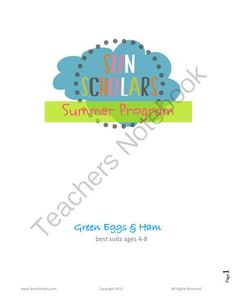 """Green Eggs and Ham Activity Kit from Sun Scholars on TeachersNotebook.com (14 pages)  - This is a """"Sample"""" Kit from the Sun Scholars Learning & Fun Summer Program.  It is a little less elaborate than the other activity kits, but still full of great activities.  This kit has 20 activities fitting basic, core curriculum including"""