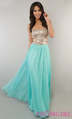 Strapless Gown with Cut Out Sides by Morgan at PromGirl.com