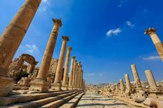 Colonaded street in Jerash.. One of the Roman Decapolis cities of the Middle East located in Jordan