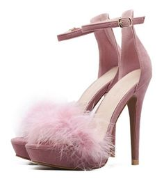 Shop Pink Feather Embellished Ankle Strap Stiletto Velvet Sandals at victoriaswing, personal womens clothing online store! high quality, cheap and big discount, latest fashional style! Rosa High Heels, Ankle Strap High Heels, Ankle Wrap Sandals, Pink Sandals, High Heels Stilettos, Ankle Straps, Stiletto Heels, Strap Sandals, Pink Shoes
