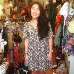 Sidney looks adorable in this ditsy floral 90's dress from the shop!