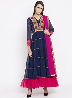 61d3935612b Navy Blue Faux Georgette Readymade Anarkali Suit 135175 Churidar Suits
