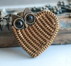 Vintage Zipper Big Eyed Owl Brooch Recycle by ZipperedHeart