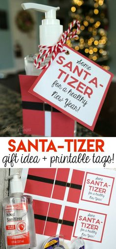 Hand Sanitizer Easy Christmas Gift Idea (with printable tags! Santa-Tizer Hand Sanitizer Easy Christmas Gift Idea (with printable tags!Santa-Tizer Hand Sanitizer Easy Christmas Gift Idea (with printable tags! Diy Gifts For Christmas, Neighbor Christmas Gifts, Frugal Christmas, Christmas Christmas, Christmas Marketing Gifts, Christmas Wreaths, Diy Xmas Gifts For Coworkers, Teacher Christmas Ideas, Christmas Nails