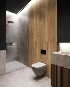 Like that shower wall textures. Dont like the concrete sink Bathroom Lighting Design, Bathroom Layout, Modern Bathroom Design, Bathroom Interior Design, Small Bathroom, Master Bathroom, Toilet Design, Bathroom Toilets, Washroom
