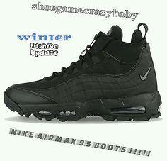 Nike Air Max 95 Winter Black/Black All Triple Blackout Zip Sneaker Boot  size8.5