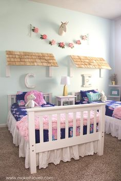Ideas for a Shared Girl's Bedroom (…finally complete!)