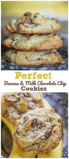 Tasty Chocolate Chip Cookies, Milk Cookies, Chocolate Snacks, Healthy Banana Cookies, Banana Recipes Chocolate, Cookies With Bananas, Banana Cookie Recipe, Peanut Butter Banana Cookies, Banana Chocolate Chip Pancakes