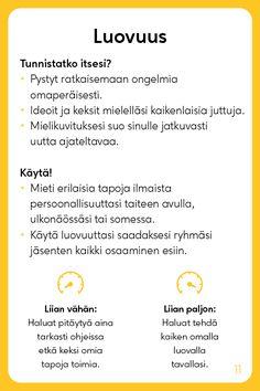 Vahvuuskortit - Positive Learn Finnish, Cbt, Healthy Mind, Study Tips, Self Improvement, Self Help, Kids Learning, Psychology, Mindfulness