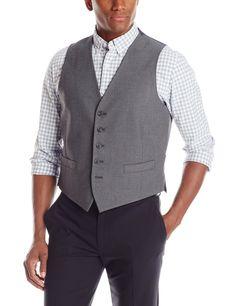 Perry Ellis Men's 5 Button Suit Separate Vest, Grey Shark Skin, Large