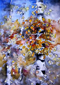 """Watercolor and Ink sketch inspired by the first golden Aspen leaves on the threes outside my kitchen window. I call it """"Aspen Trees - Late Fall"""""""
