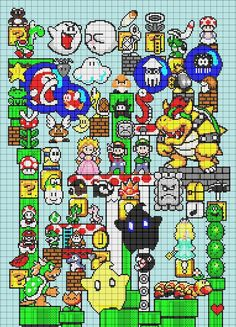 Cross-stitch Mario Characters : pattern by leseldur ... no color chart available, just use pattern chart as your color guide.. or choose your own colors...