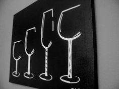 18x24 wine glasses acrylic on canvas commission. $59.00, via Etsy.
