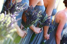 Bridesmaids flowers - Two colors of lavender with babys breath- I would wrap the stem in white or burlap and not add the green