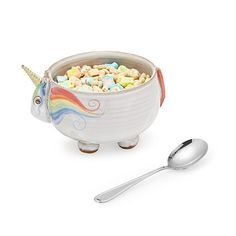 Your new breakfast companion, Elwood The Unicorn Cereal Bowl! | $38 | UncommonGoods